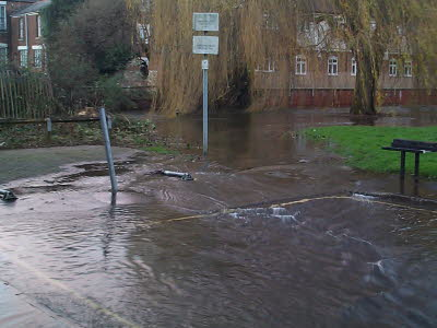 The River flowing into the bottom of Water Lane